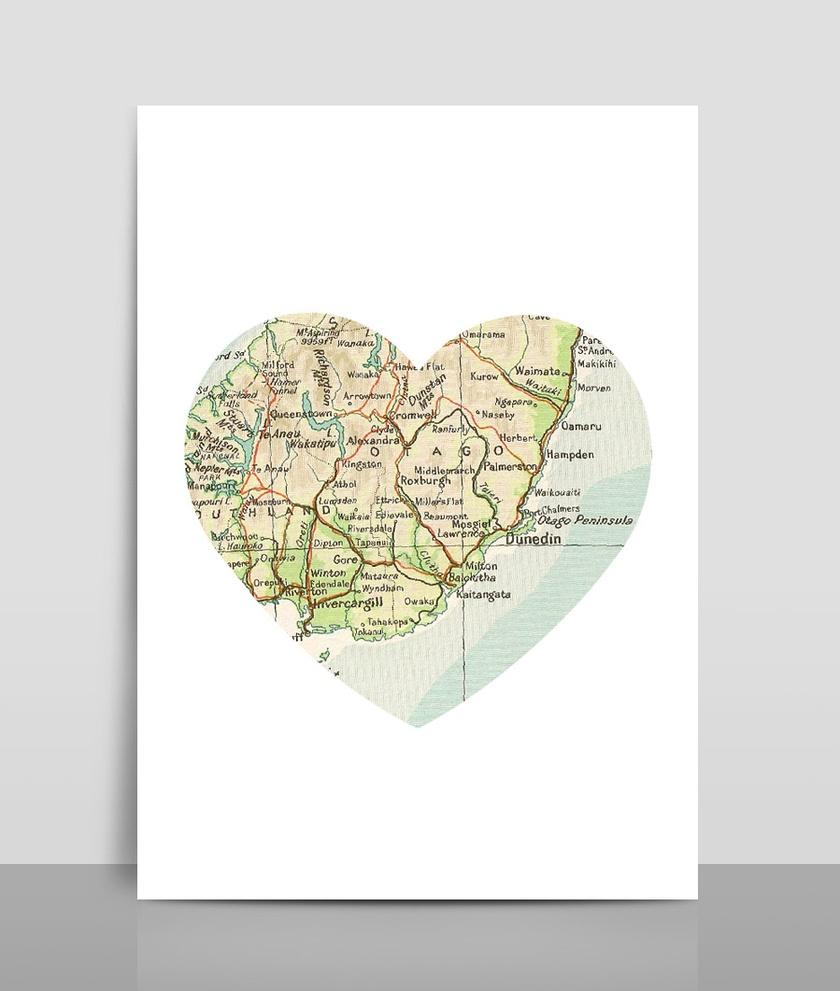 Map Heart Print A4 - Map 1