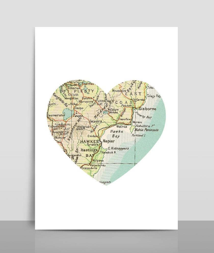 Map Heart Print A4 - Map 4