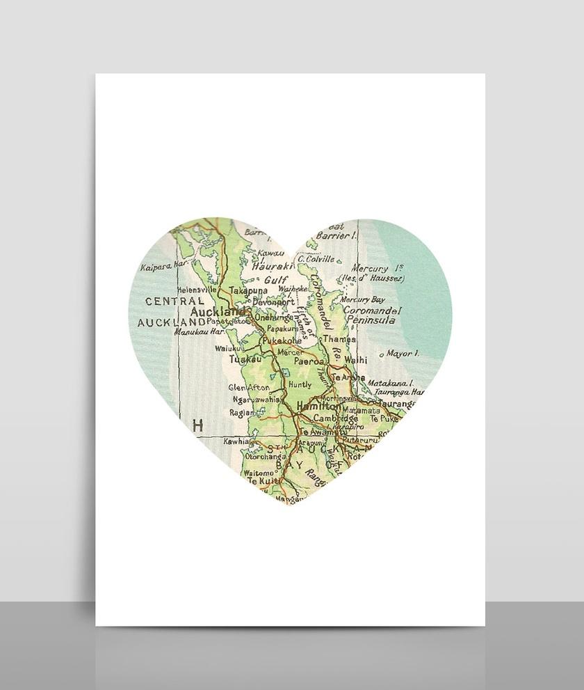 Map Heart Print A4 - Map 6