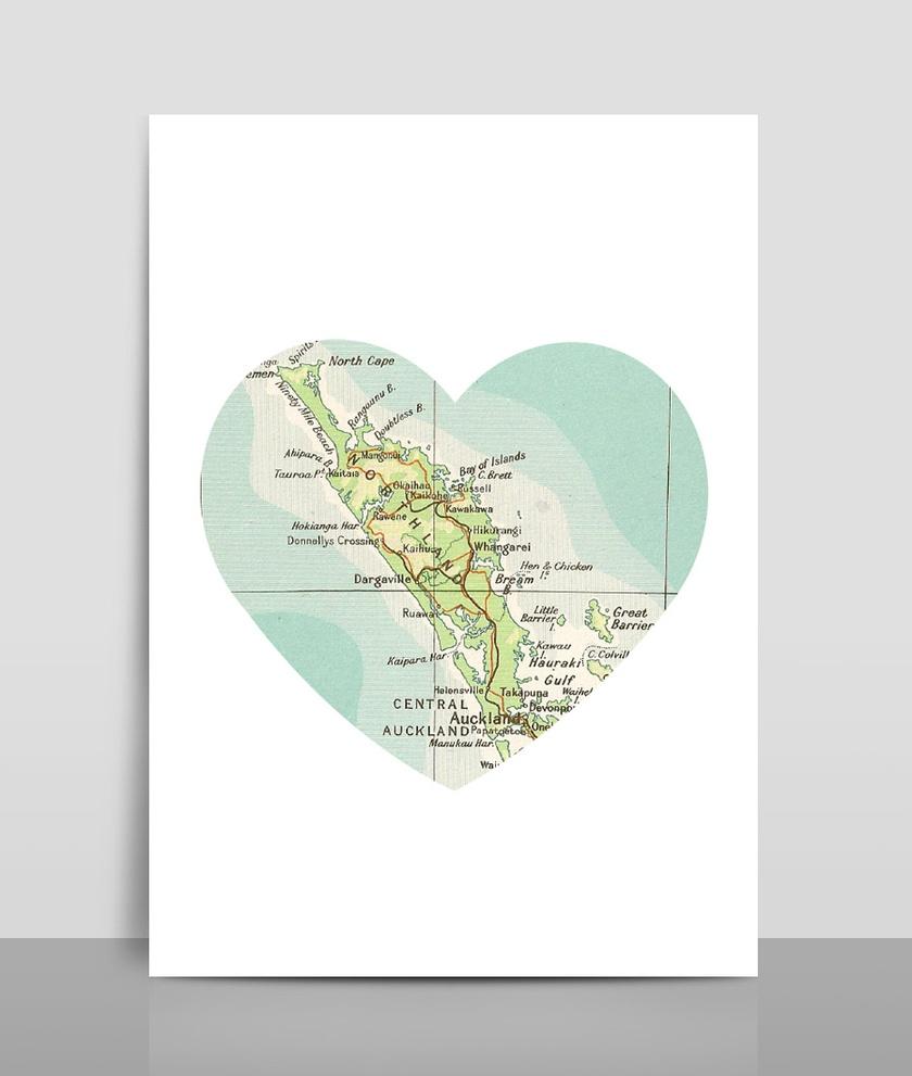 Map Heart Print A4 - Map 7