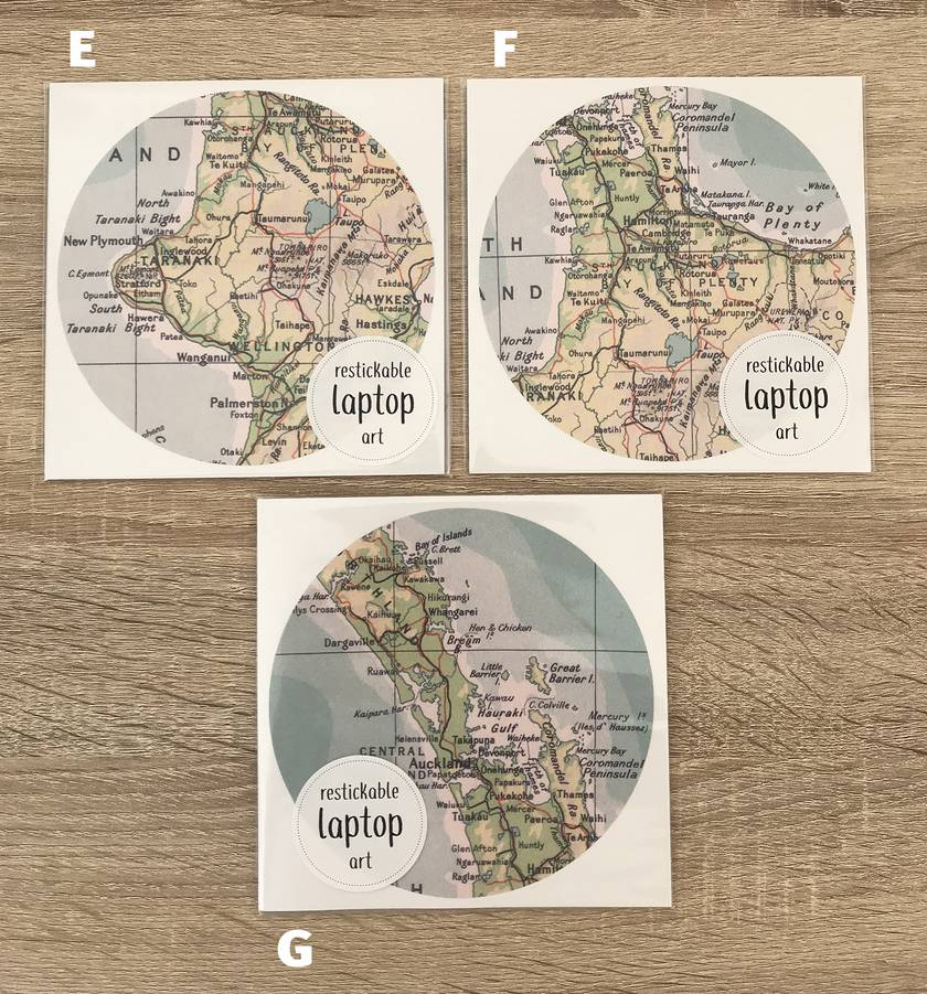 Restickable Laptop Circle Map