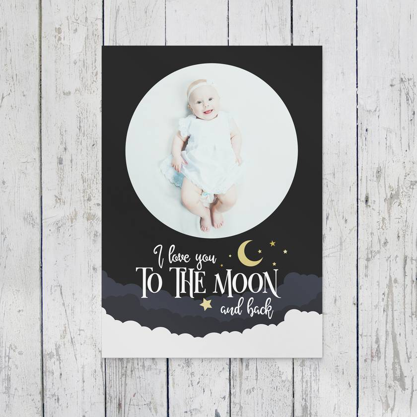 Personalised Birth Keepsake - To The Moon and Back 8x10 or A4