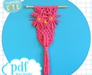 Owl macrame pattern. DIY modern macrame wall hanging. Step by step colour pattern. Beginner pdf.