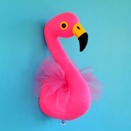 Flamingo head sewing pattern. Faux taxidermy. Pdf pattern. Pink felt. Trophy head. Animal, bird, interior decor. Wall bust. Kids room decor