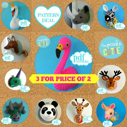 Animal head sewing pattern. Faux taxidermy PDF deal 3 for price 2. Giraffe Flamingo Panda Swan Zebra Unicorn Rhino Narwhal Dinosaur Deer Fox Stag Bunny