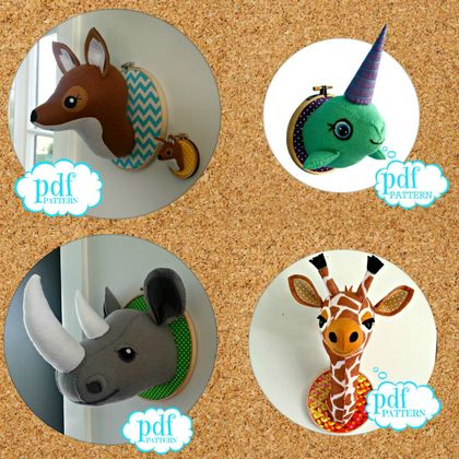 Animal head sewing pattern. Faux taxidermy PDF deal 3 for price 2. Giraffe Flamingo Panda Swan Zebra Unicorn Rhino Narwhal Dinosaur Deer Fox Stag Bunny