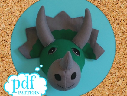 Dinosaur head sewing pattern. Faux taxidermy. Felt triceratops. Boys room decor. Dino wall bust. Jurassic wall art. Green and grey felt