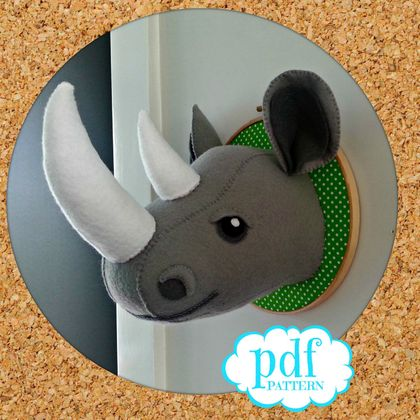 Rhino head. Faux taxidermy pdf sewing pattern. Ronnie the Rhino. Sew your own felt safari creature.
