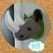 Rhino head. Faux taxidermy pdf sewing pattern. Ronnie the Rhino. Sew your own felt safari creature.