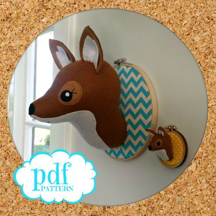 Fox head pattern. Faux taxidermy sewing pdf. Woodland creature. Embroidery hoop art. Animal trophy head Wall mount. Felt Fox. Easy beginners