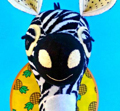 Zebra head sewing pattern. Faux taxidermy pdf. DIY safari animal. Kids room decor. Trophy head.