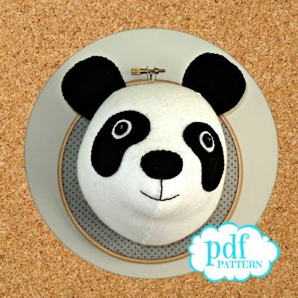 Faux taxidermy. Felt Panda sewing pattern. Trophy head. Wall mount. DIY kids room decor. Embroidery hoop art. Easy beginners.