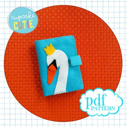 Felt needle book pattern. Swan needle case. Sewing accessory. Easy, beginners .