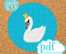 Swan cross stitch pattern. Needlepoint tapestry. Beginners epattern. Easy counted x-stitch. Pdf. Craft for swan lover