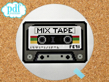 Mix Tape cross stitch pattern. Needlepoint tapestry. Retro cassette, eighties. Easy counted x-stitch.