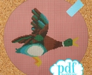 Flying Duck cross stitch pattern. Retro vintage kitsch iconic ducks tapestry, needlepoint