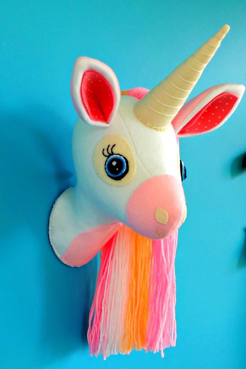 Unicorn sewing pattern. Faux taxidermy. Animal head. Felt Unicorn. Wall mount bust. Rainbow mane. Trophy head. Kids room nursery decor
