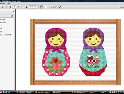 Two Little Cupcake Babushkas cross stitch pdf pattern