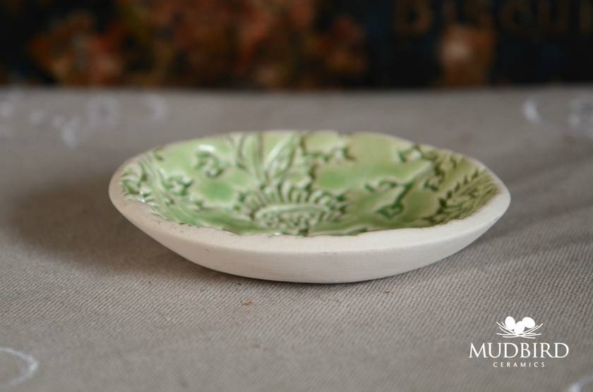 Mudbird Ceramic Green Thistle Dish
