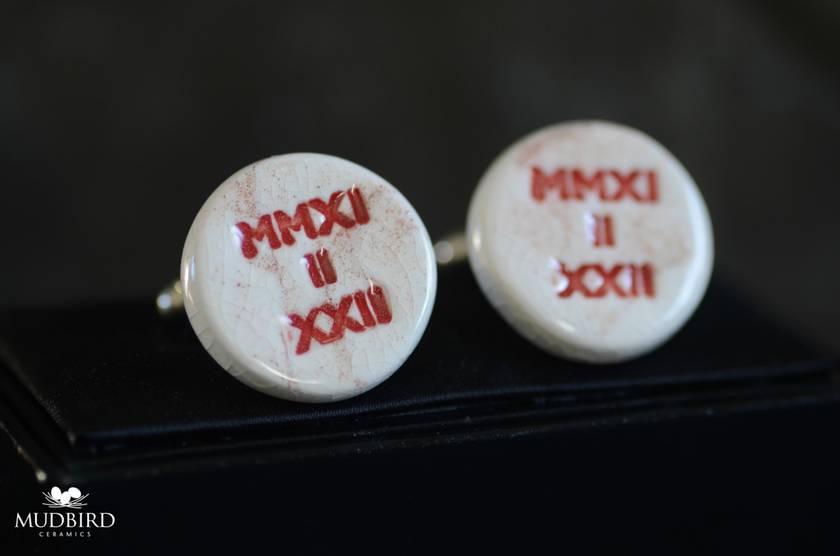 Emerge MMXI Cufflinks, made from Liquefaction Silt.