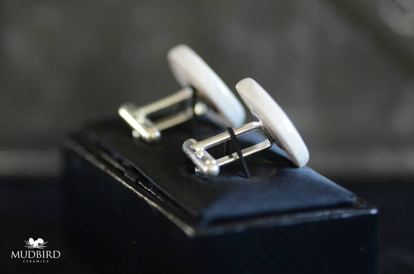Emerge MMXI Cufflinks, made from Liquefaction Silt.