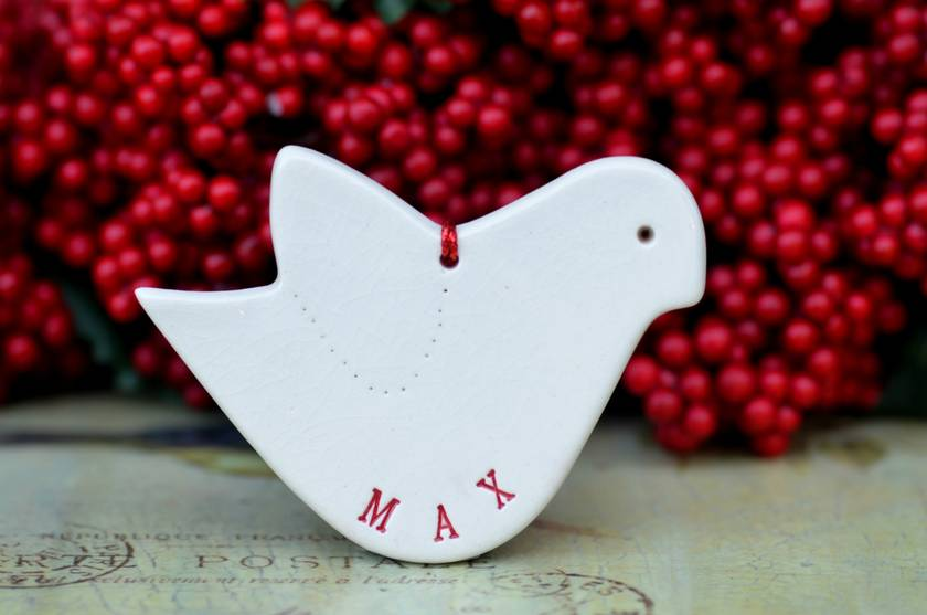 Bespoke Dove - Personalised Christmas Ornament.