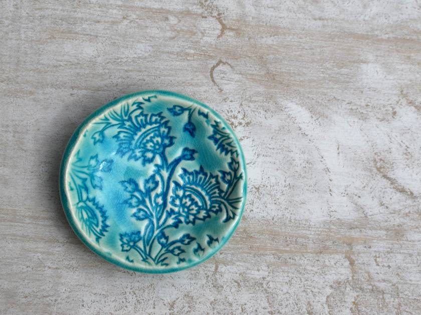 Aqua Crackle Ceramic Thistle Dish