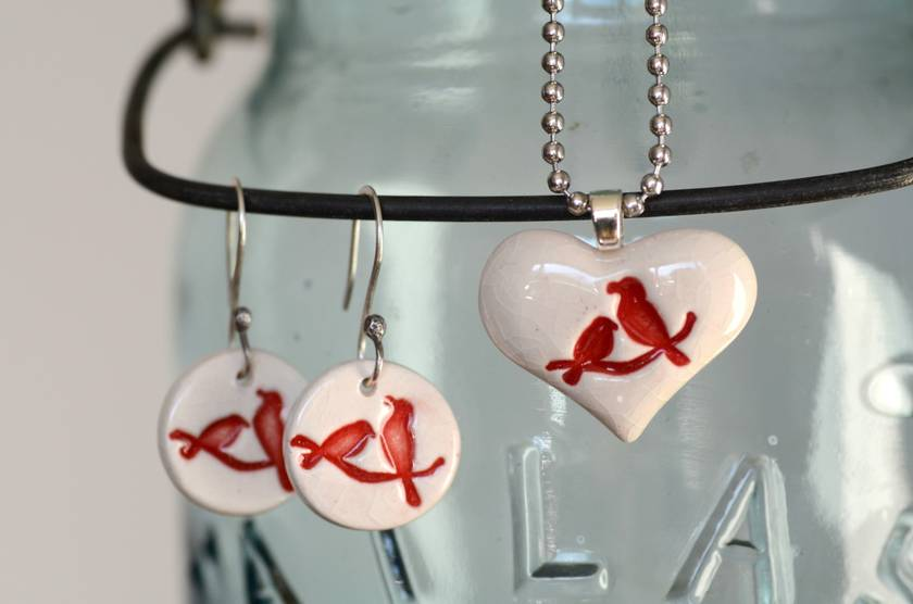 Red Lovebird Ceramic Earrings