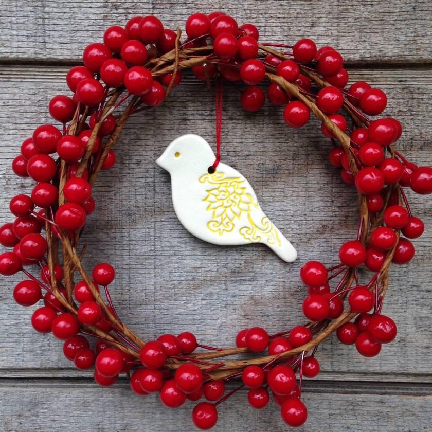 Mudbird Little Bird Christmas ornament - yellow