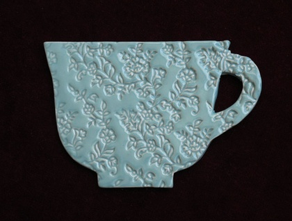 Ceramic 'Teacup' Coaster / Turquoise