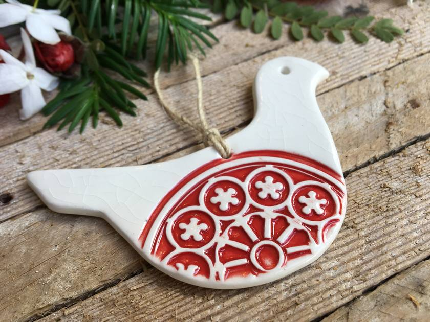 Mudbird Ceramic Rose Window Dove