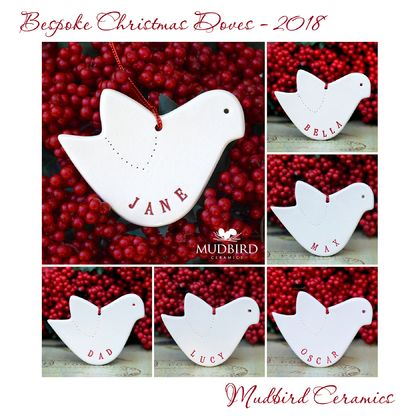 Personalised Christmas Dove Ornament - Ceramic.