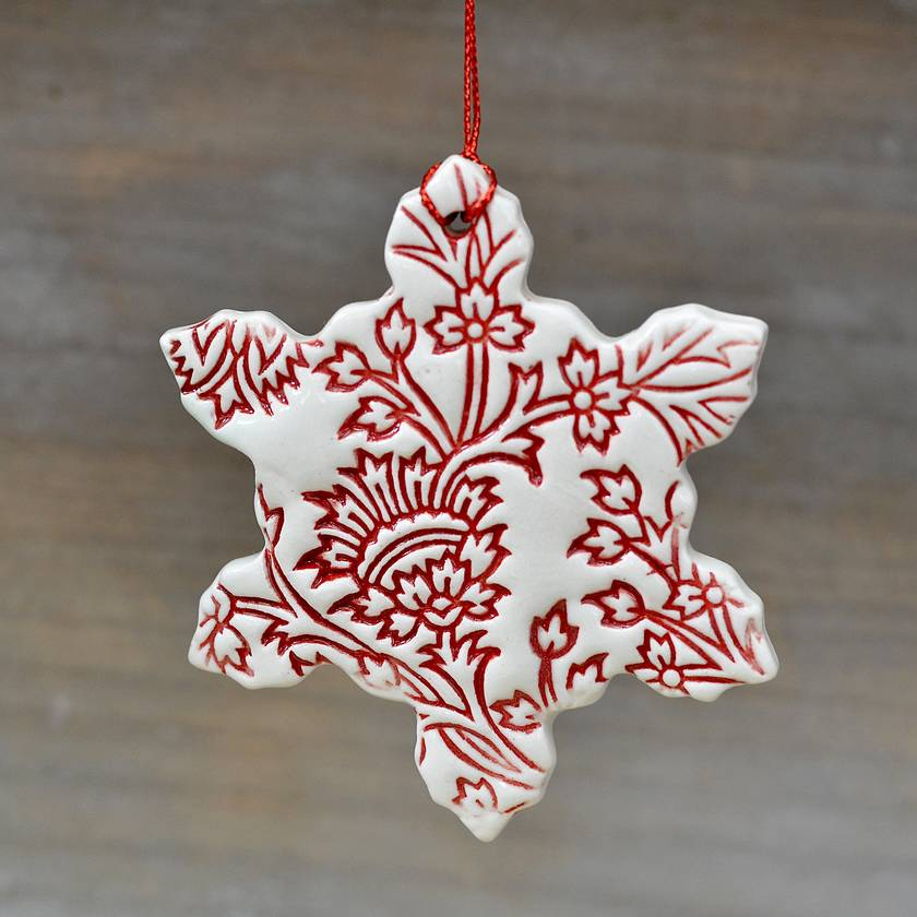 Mudbird Ceramic Snowflake 2018 Decoration