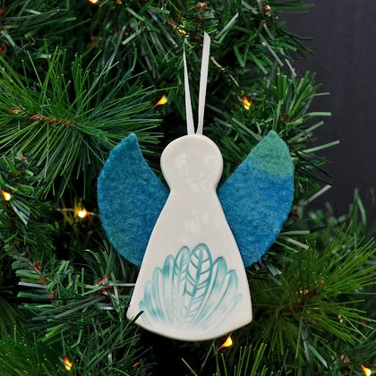 jade mudbird wild felt christmas angel ornament