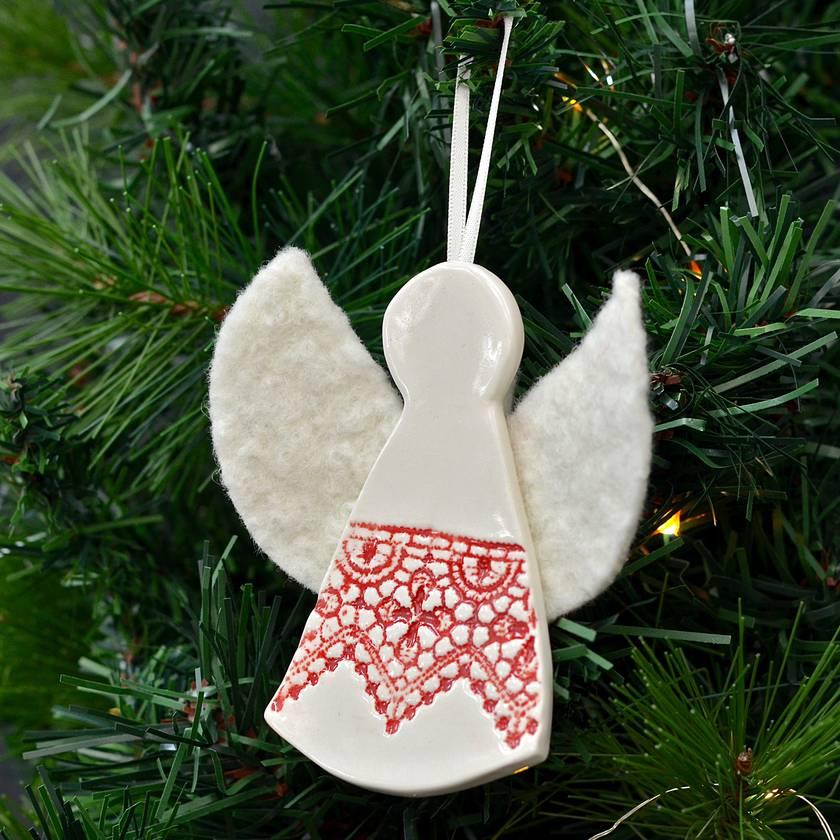 AROHA ~ Mudbird & Wild Felt Christmas Angel Ornament.