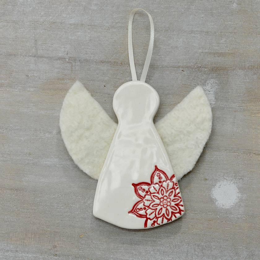 NOELLE ~ Mudbird & Wild Felt Christmas Angel Ornament.