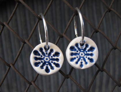 Ceramic Glazed Earrings -Blue Star