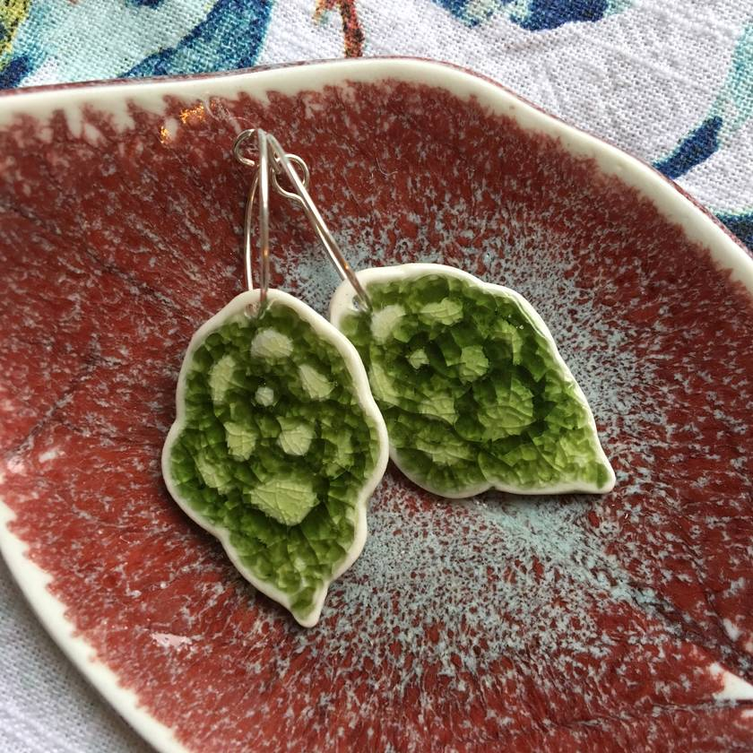 Green Ceramic Crochet earrings
