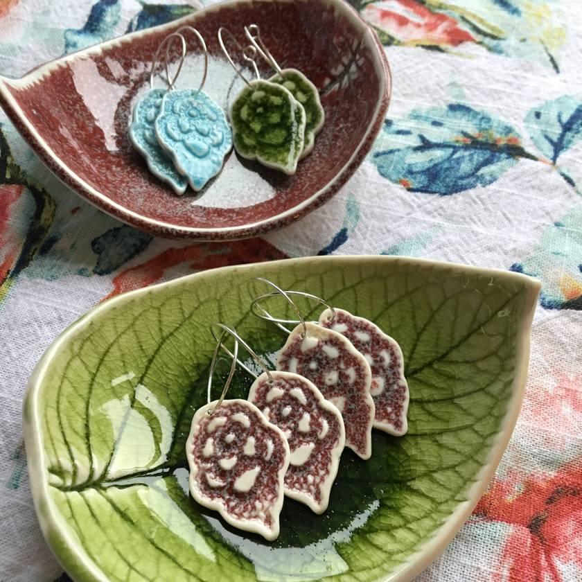 Plum Ceramic Crochet earrings