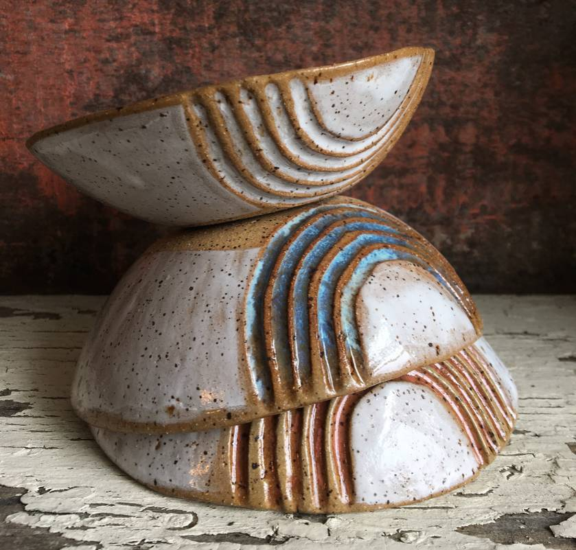 Ceramic carved speckled clay bowl - sunset
