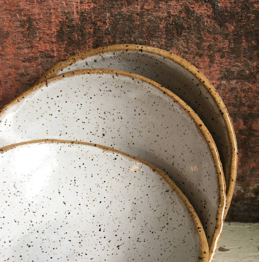 Ceramic carved speckled clay bowl