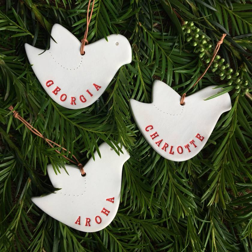 x 2 Personalised Ceramic Christmas Dove Ornament