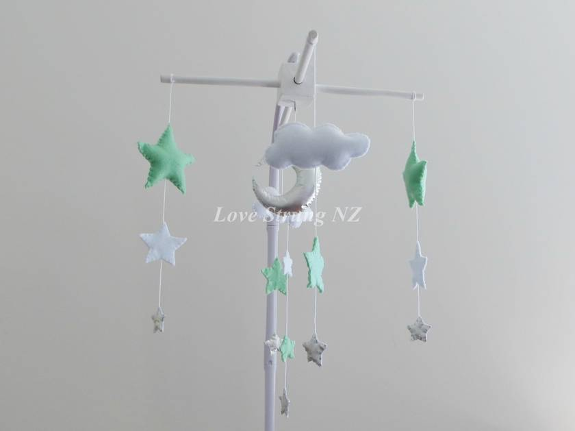 Starry Nights - Mint, Silver & White