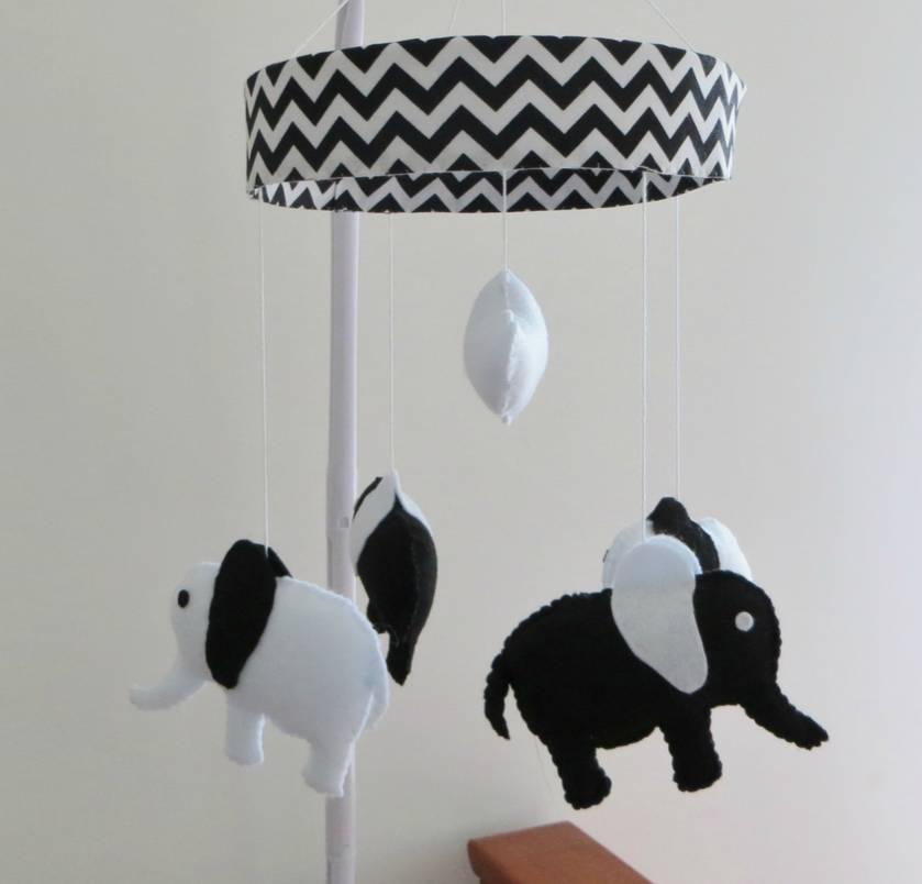 Monocrome Elephant Mobile