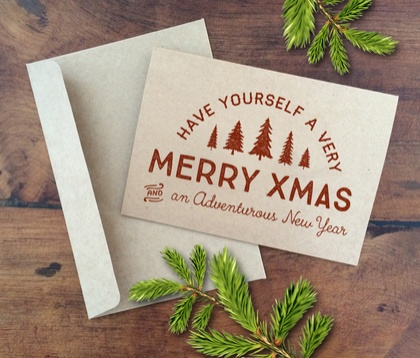 ADVENTUROUS XMAS A6 kraft greeting card