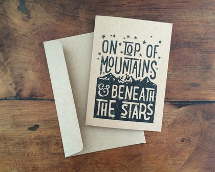 ON TOP of MOUNTAINS A6 kraft greeting card
