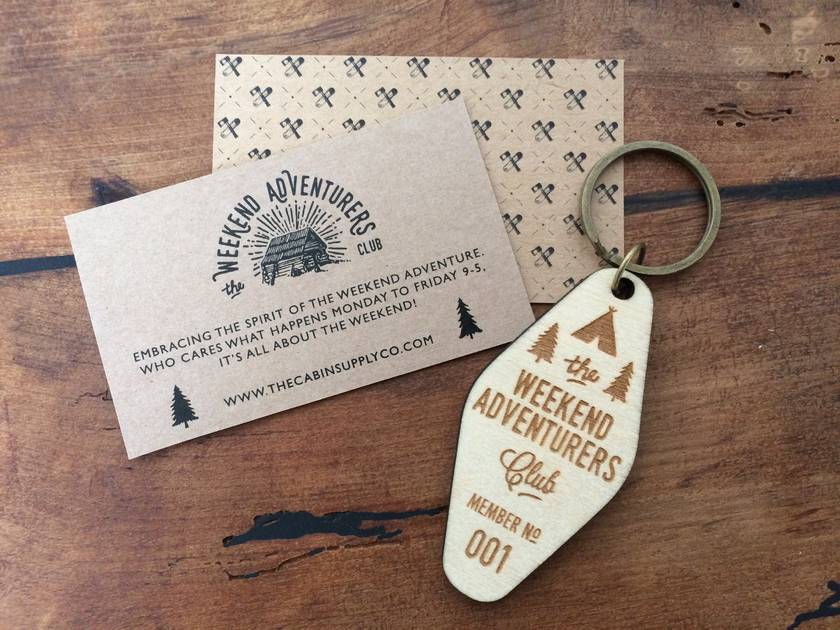 birch ply wooden laser etched adventurers club key fob, keychain