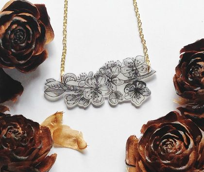 Cherry Blossom Necklace - Floral Branch - Cascading Blossom