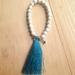 White turquoise and blue tassel beaded bracelet