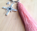 Travellers Compass Pink Tassel Keyring